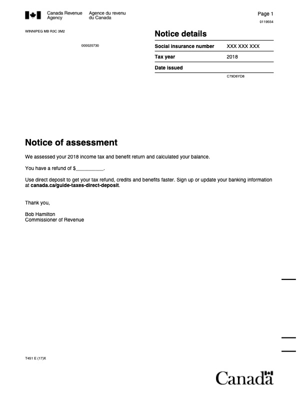 NOA - NOTICE OF ASSESSMENT