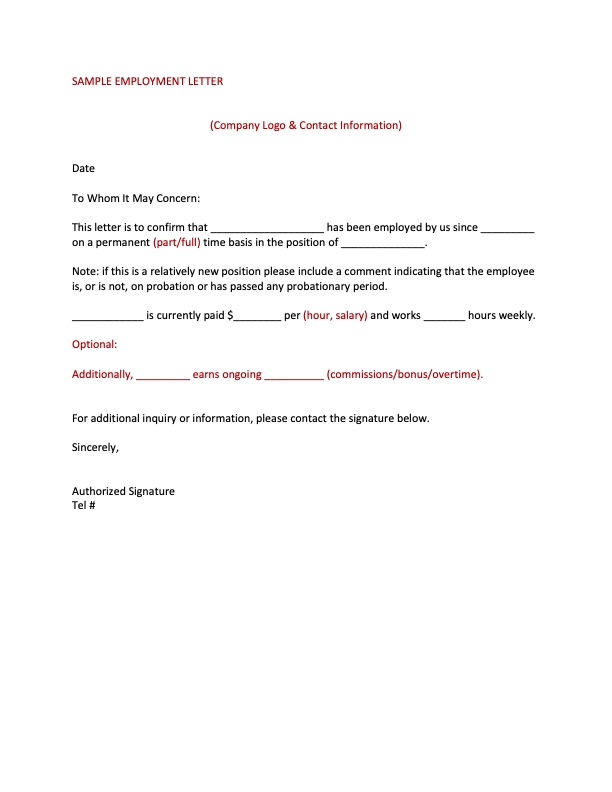 SAMPLE EMPLOYMENT LETTER
